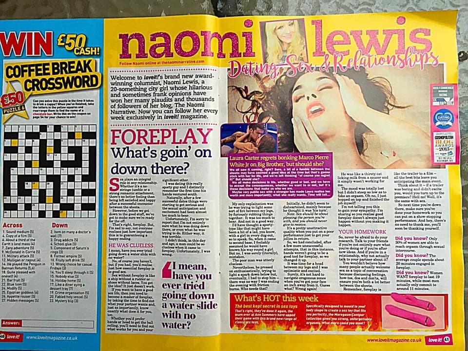 Naomi Lewis in Loveit! Magazine